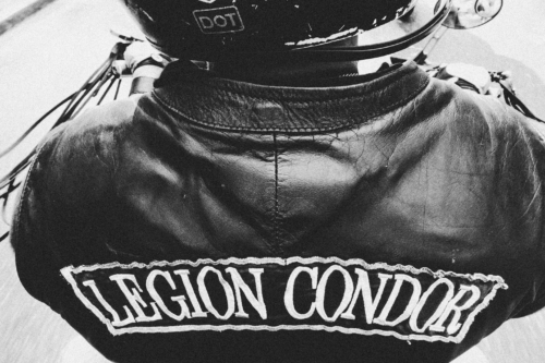 """His leather vest is embroidered with the logo of his MC """"Legion Condor"""". I asked him why he, a Jew, was wearing an outfit that alluded to the notorious German air force unit that bombed Guernica. Kaim assured me that it referred to the bird of prey."""
